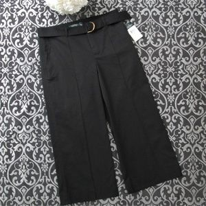 NWT Ralph Lauren Black Belted Wide Leg Capri Pants